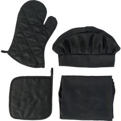 Cheap Stationery Supply of Fabric kitchen set, consisting of a chef hat, a padded oven glove, a padded pot holder and apron (approx. 65 x 81 cm)  Office Statationery