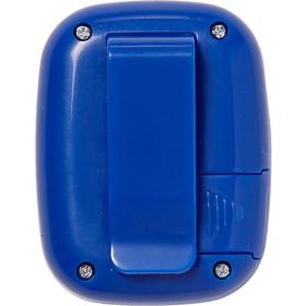 Plastic pedometer with step counter, calorie counter and belt clip.