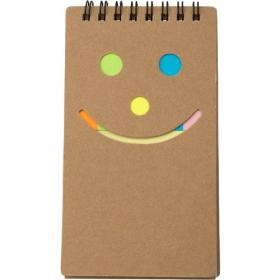 Notebook with sticky notes.