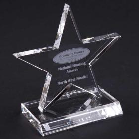 E145 13cm Optical Crystal 5 Pointed Star Award