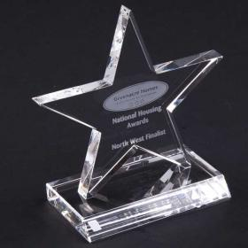 E145 11cm Optical Crystal 5 Pointed Star Award