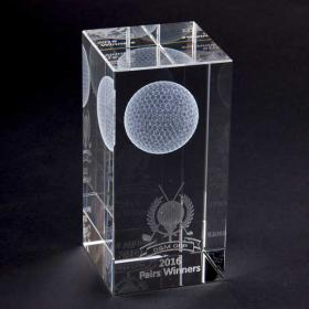 E145 Crystal Cube Golf Award
