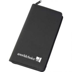 Cheap Stationery Supply of E102 Zipped Travel Wallet in Black Microfibre Office Statationery
