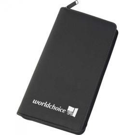 E102 Zipped Travel Wallet in Black Microfibre