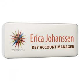 E076 Dome Finished Printed Plastic Name Badges