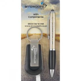 E019 Blister Packed Contour-I Metal Ballpen With Hades Key Ring