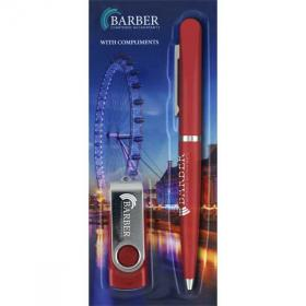 E019 Blister Packed Balfour Ballpen With Twister USB Flash Drive