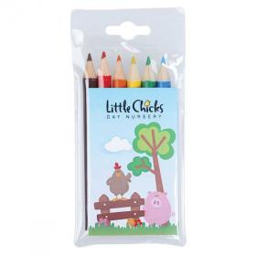 E049 Pack of 6 Half Length Colouring Pencils
